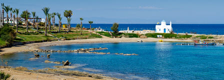 Kalamies beach,protaras,cyprus 2. A panoramic view of Kalamies beach,protaras,cyprus stock photo