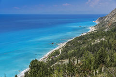 Kalamitsi海滩,莱夫卡斯州,爱奥尼亚人海岛 免版税库存照片