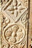 Kalamkari prints on Stone pillars. The Kalamkari prints of Andhra Pradesh on the pillars of the Lepakshi Temple stock photo