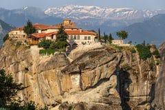Kalampaka Town and rock with Holy Trinity Monastery, Meteora Stock Photography