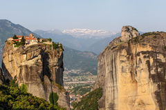 Kalampaka Town and rock with Holy Trinity Monastery, Meteora Royalty Free Stock Image