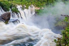 Kalandula waterfalls of Angola in full flow. With lush green rain forest, rocks and spray Stock Photo