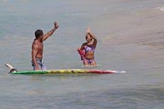 Kalani & Krystl. Event: ITSA Tandem World Championship Location: offshore Kuhio Beach, Waikiki, island of O`ahu, Hawai`i, USAnSubject: World Champions Kalani Royalty Free Stock Photo