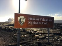 Kalapana Lava flow from volcano into ocean at Kīlauea Big Island Hawaii Stock Photos