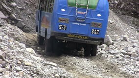 KALAPANI, NEPAL : failure of the bus on a bumpy road Nepalese. stock footage