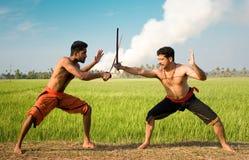 Kalari, art martial indien Photos libres de droits