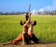 Kalari, Indisch krijgsart. Stock Foto's