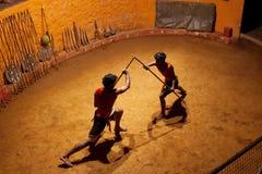 Kalaripayattu武术在喀拉拉,南印度 免版税图库摄影