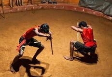 Kalaripayattu武术在喀拉拉,南印度 免版税库存图片