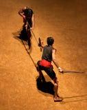 Kalaripayattu Martial Art in Kerala, India. KERALA, INDIA - NOVEMBER 11, 2016: Indian fighters performing Kalaripayattu marital art. Kalaripayattu is an ancient Stock Photo