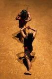 Kalaripayattu Martial Art in Kerala, India. KERALA, INDIA - NOVEMBER 11, 2016: Indian fighters performing Kalaripayattu marital art. Kalaripayattu is an ancient Stock Images