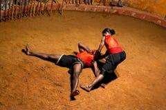 Kalaripayattu Martial Art in Kerala, South India. KERALA, INDIA - JANUARY 19, 2016: Indian fighters performing Kalaripayattu marital arts demonstration Stock Images