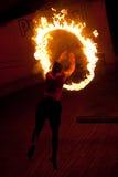 Kalaripayattu master demonstrates his skills. Man jumping through fire ring during Kalaripayattu martial arts demonstration on January 19, 2016 in Kalaripayattu Stock Photo