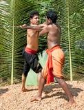 Kalarippayat,喀拉拉的印第安古老武术 库存图片