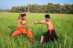 Kalarippayat, art martial antique indien du Kerala images stock