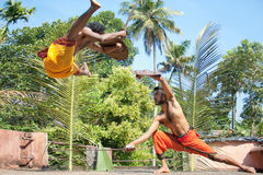 Kalarippayat,fight in air,ancient martial art. Kalarippayat,fight in air, indian ancient martial art of Kerala royalty free stock images