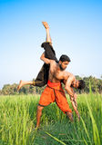 Kalarippayat, indian ancient martial art of Kerala. Warriors have a fight ;Kalarippayat, indian ancient martial art of Kerala, India royalty free stock photos