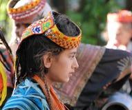 Kalash全国服装的在Joshi节日, Bumburet,巴基斯坦部落妇女画象  库存图片