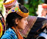 Kalash全国服装的部落妇女画象在Joshi费斯特 免版税库存照片