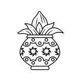 Kalash. Vector illustration of kalash, coconut with leaf in pottery Stock Photos