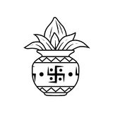 Kalash. Vector illustration of kalash, coconut with leaf in pottery Royalty Free Stock Photo