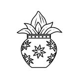 Kalash. Vector illustration of kalash, coconut with leaf in pottery Stock Images