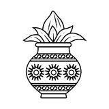 Kalash. Vector illustration of kalash, coconut with leaf in pottery Royalty Free Stock Photos