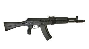 Kalashnikov AK-105 machine gun. Isolated on the white background Royalty Free Stock Photography
