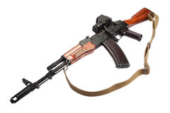 Kalashnikov AK assault rifle with optical sight Stock Photo