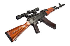 Kalashnikov AK assault rifle with optical sight Royalty Free Stock Images
