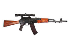 Kalashnikov AK assault rifle with optical sight Stock Photos
