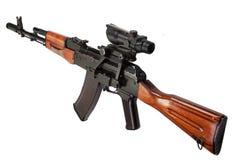Kalashnikov AK assault rifle with optical sight Stock Photo