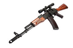 Kalashnikov AK assault rifle with optical sight on white Royalty Free Stock Images