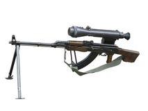 Kalashnikov AK gun with optical sight isolated over white Royalty Free Stock Photo