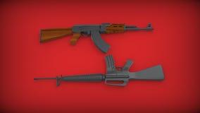 Kalashnikov AK-47 and M 16 on red background. Stock Photo