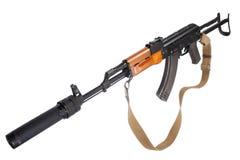 Kalashnikov AK47 med ljuddämparen Royaltyfri Bild