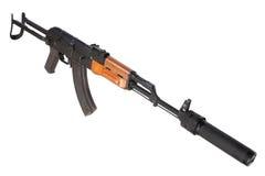 Kalashnikov AK47 med ljuddämparen Fotografering för Bildbyråer