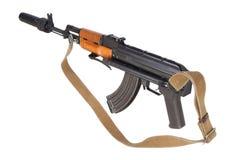 Kalashnikov AK47 med ljuddämparen Arkivbild