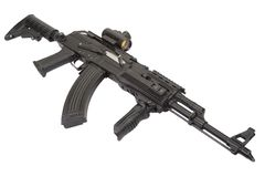 Kalashnikov AK47 with modern accessories Royalty Free Stock Photos