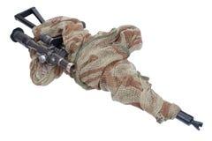 Kalashnikov AK with sniper scope isolated on a white background Stock Photos