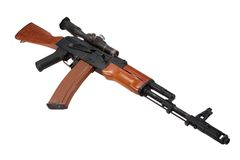 Kalashnikov assault rifle ak74 with sniper scope Stock Photography