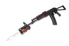 Kalashnikov assault rifle aks-74. With bayonet isolated on a white background stock images