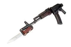 Kalashnikov assault rifle aks-74. With bayonet isolated on a white background royalty free stock image