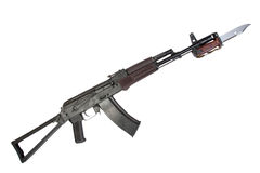 Kalashnikov assault rifle aks-74 with bayonet isolated on a white background royalty free stock image