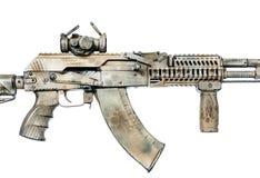 Kalashnikov assault rifle on white background Stock Photo