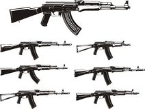 Kalashnikov  assault rifles set Royalty Free Stock Photo