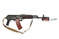 Kalashnikov with bayonet. Isolated on a white background Stock Photos