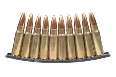 Kalashnikov cartridges with ammo clip Royalty Free Stock Photos
