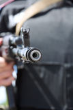 Kalashnikov machine gun in the hands of Ukrainian soldier. Stock Images
