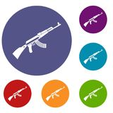 Kalashnikov machine icons set Stock Photos